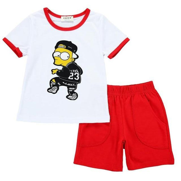 Girls Clothing Toddler Children's set Cartoon Play Suit Short Sleeve Two-Piece Summer Children Set Child Baby Boys Clothing