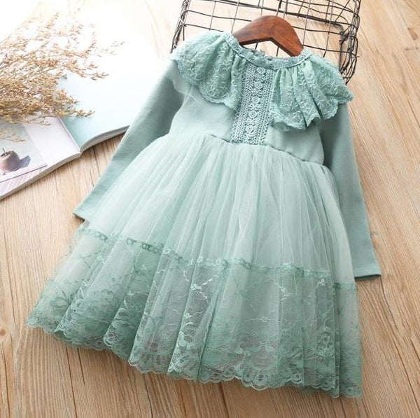 Girls Dress Elegant Spring long Sleeve Cotton Dresses Kids For Girl Clothes 4 5 6 7 years Birthday Princess Costumes Party Dress