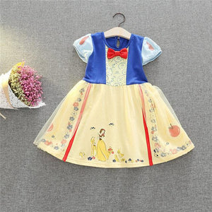 Girls Summer Dresses Princess Snow White Costume Children Clothing Kids Party Dress Cute Cartoon Pattern Girls Birthday Clothes