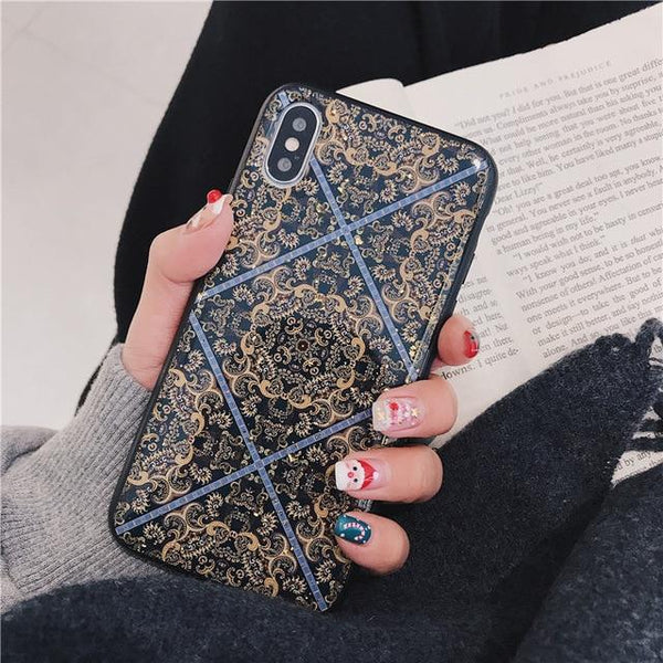 Glitter Style Flower Patterned Cases for Iphone 6/6 Plus X Xr Drop Glue Back Cover for Iphone Xs Max 7 8 Plus Cases