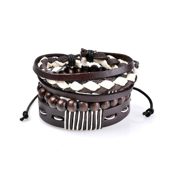 Punk Genuine Wrap Leather Bracelet With Stone Beads For Men's And Women's