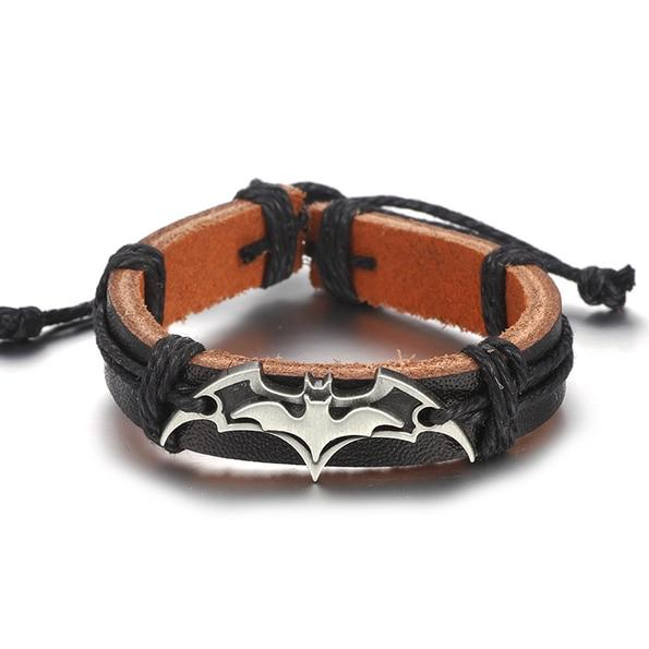Vintage Batman Leather Bracelet With Handmade Chain Beads For Men's And Women's