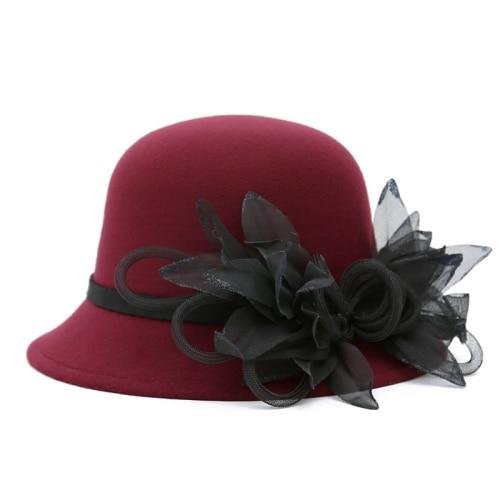 New Handmade Flower Women Hats Autumn Winter Wool Felt Fedoras Elegant Female Church Hat Round Top Bucket Cloche Hat