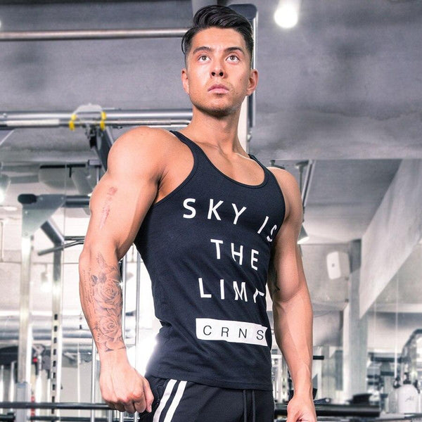 Men Gyms Fitness Tank Tops Bodybuilding Workout Cotton Sleeveless Shirt Male Summer Casual Print Stringer Singlet Brand Clothing