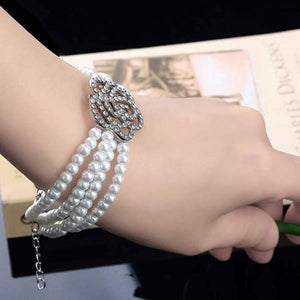 Trendy Flower Pearl Multilayer Crystal Women Bracelet