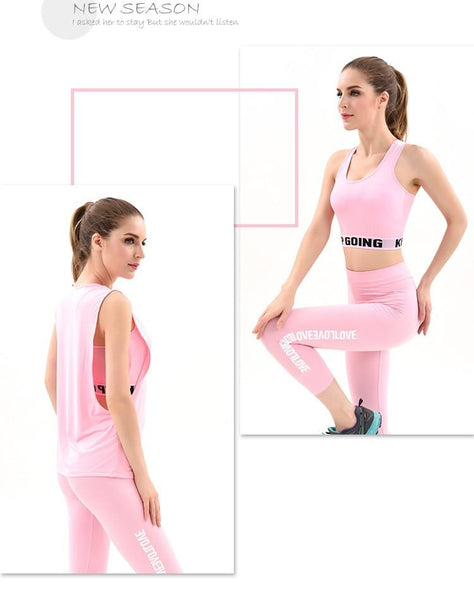 2019 Gym Clothing  Three-piece Sport Suit Women's Fitness Yoga Sets Pockets  Sexy Gym Wear Costumes Tracksuits For Women