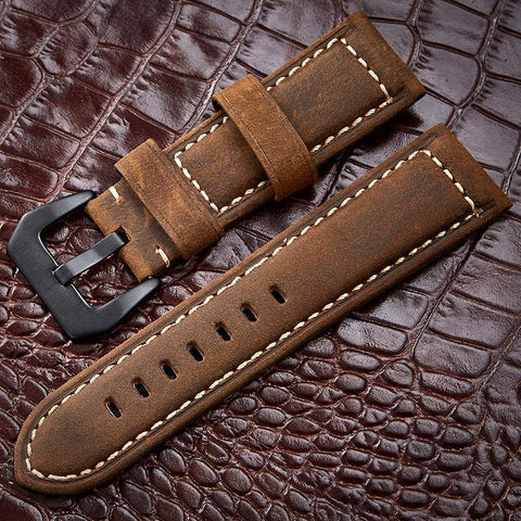 Handmade 4 Color Watch Accessories Vintage Genuine Crazy Horse Leather 20mm 22mm 24mm 26mm Watchband Watch Strap & Watch Band