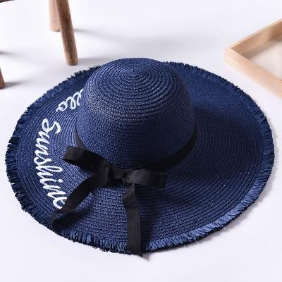 Handmade Weave letter Sun Hats For Women Black Ribbon Lace Up Large Brim Straw Hat Outdoor Beach Summer Caps