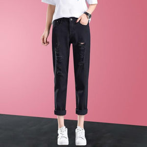 Ripped Hole Jeans For Women Mid Waist Denim Pants 2019 Summer Autumn Ankle-Length Jeans