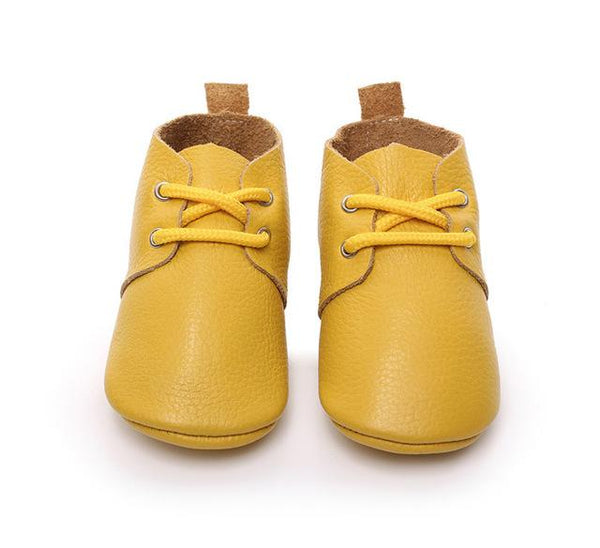 Leopard genuine leather lace up baby shoes Infant Toddler soft soled girls boys moccasins casual First Walkers boots