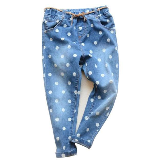 Cartoon Girls Children Jeans Dot Pants For Girls For 3-6 Years New Kids Jeans