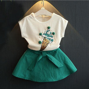 Humor Bear Summer Fashion Lovely Ice Cream Baby Girls Clothes Kids Clothes Party Dresses Girl Dress Clothing Set Girls Suit