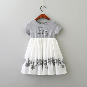 Hurave Casual cotton patchwork chiffon Dresses Girl Printing O-neck embroidery Dress Clothes Children short Sleeve clothing