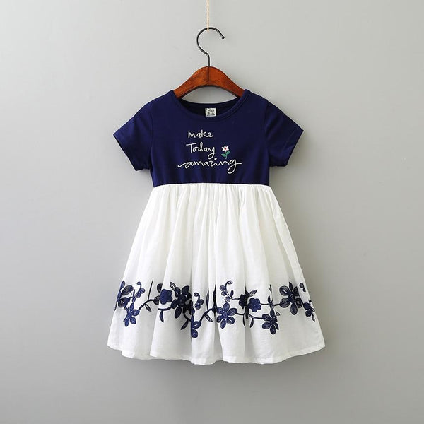Trendy Casual cotton patchwork chiffon Dresses Girl Printing O-neck embroidery Dress Clothes Children short Sleeve clothing