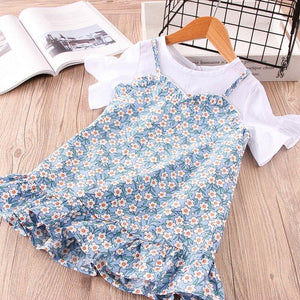 Trendy Print Patch Work Cotton Girls Clothes Children Short Sleeve Crew Neck Dress Casual Dresses