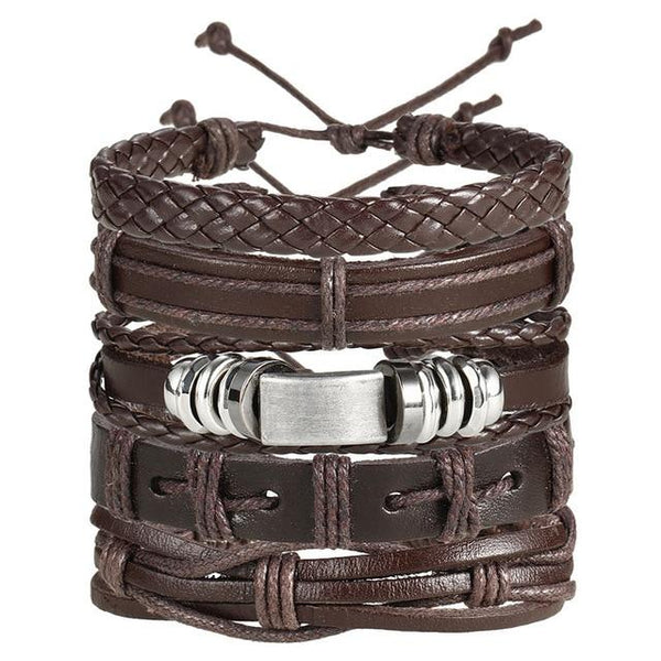 Fashion Multiple Layers Punk Leather Classic Rope Chain Charms Bracelet For Men's And Women's