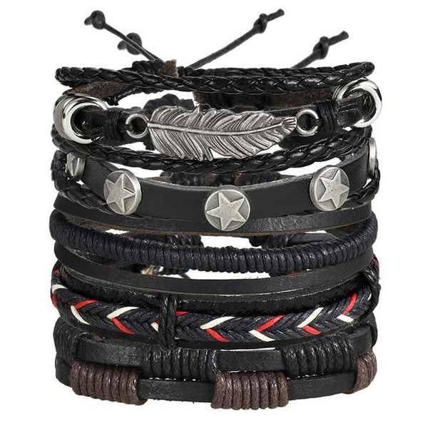IF YOU Feather Pentagram Multiple Layers Leather Bracelets For Men's With Classic Rope Chain