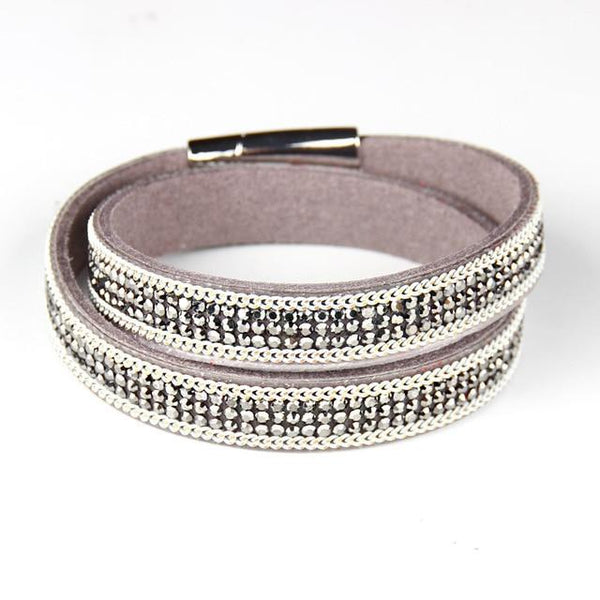 New  Trendy Long Leather Bracelet With Metal Crystal Buckle For Women