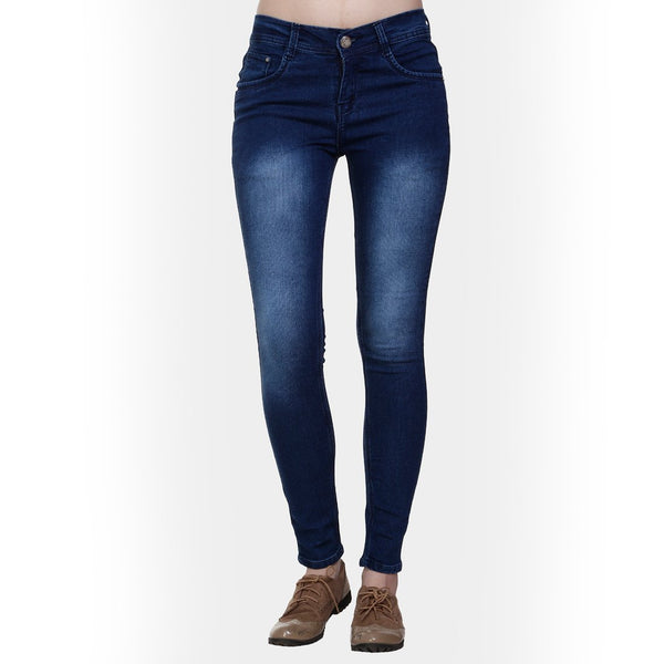 Women's Slim Fit Mid-Rise Light Fade Clean Look Streachable Jeans