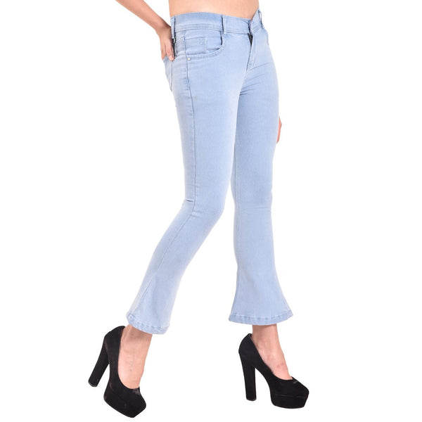 Women's Skinny Fit Mid-Rise Heavy Fade Boot Cut Streachable Jeans