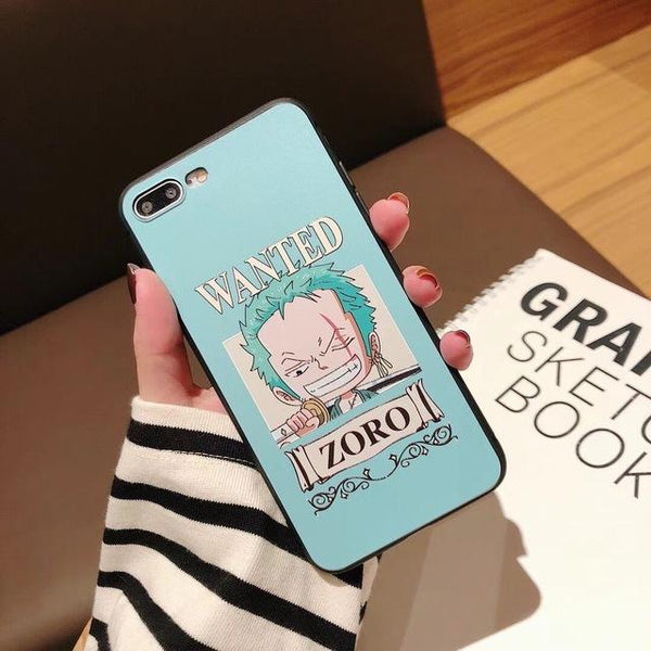One Piece cases for iPhone 7 case Soft silicone Cute Pink phone cover for iPhone 6 6s 7 8 Plus X XS Max XR Cartoon