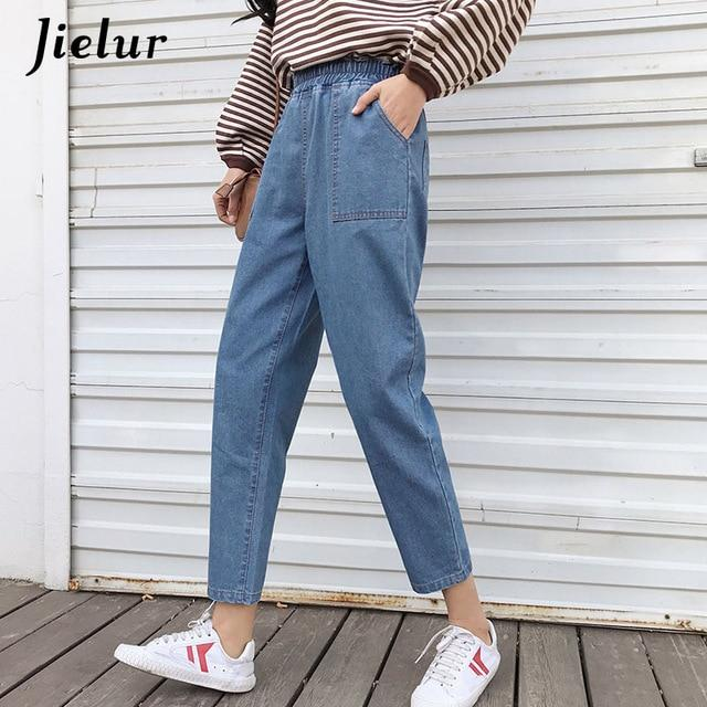 High Street Boyfriend Jeans for Women Korean Blue Jean Femme 2019 Plus Size Jeans