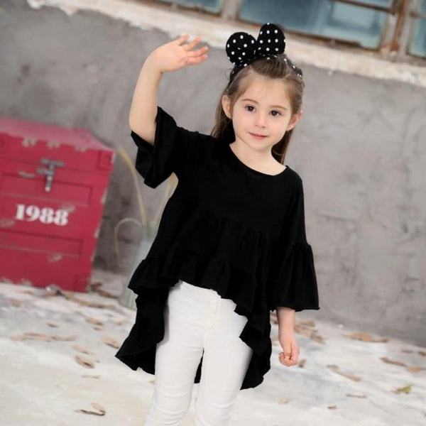 New Spring Cotton Casual Dress For Girls Free Cut White Flare Sleeve Princess Dress Fashion Girl Summer Dress