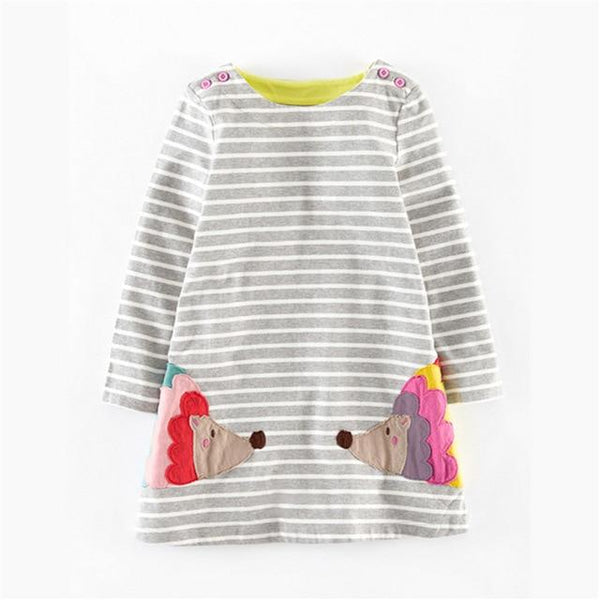 New striped spring autumn dresses baby girls hot selling cartoon dress with applique a Cute Duck Top