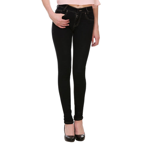 Women's Skinny Fit Mid-Rise Clean Look Clean Look Streachable Jeans