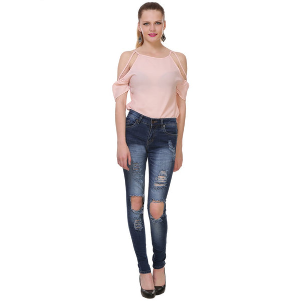 Women's Skinny Fit Mid-Rise Light Fade High Distress Streachable Jeans