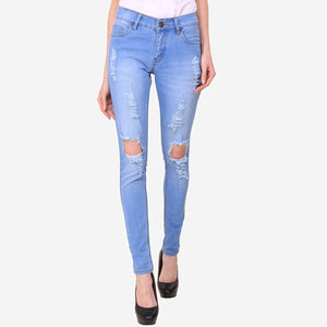 Women's Skinny Fit Distress Blue Streachable Jeans