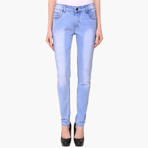 Women's Skinny Fit Mid-Rise Heavy Fade Clean Look Streachable Jeans