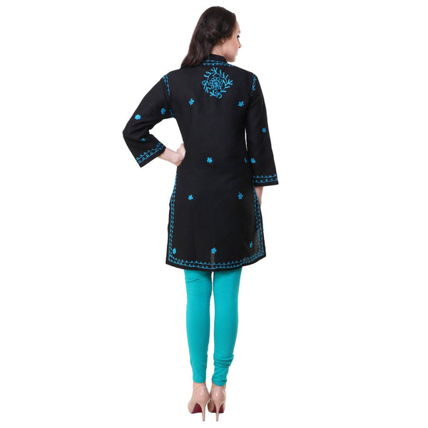 Women Lucknow Chikan Georgette Black Sky Kurti