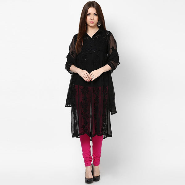 Women Lucknow Chikan Georgette Black Kurti