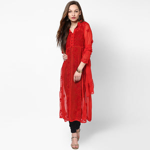 Women Lucknow Chikan Georgette Red Kurti