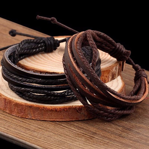 New Hand-Woven Multilayer Braided Rope Leather Bracelet For Men's And Women's