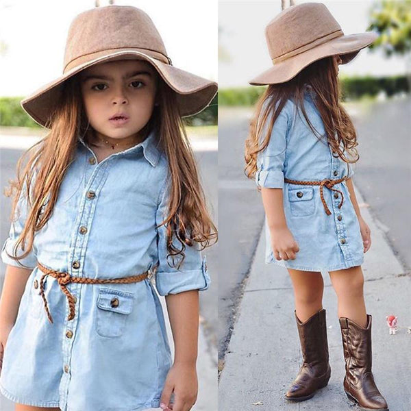 Kids Girl Clothes Jeans Denim Dresses Long Sleeve Pocket Blouse Dresses Loose Mini Dress
