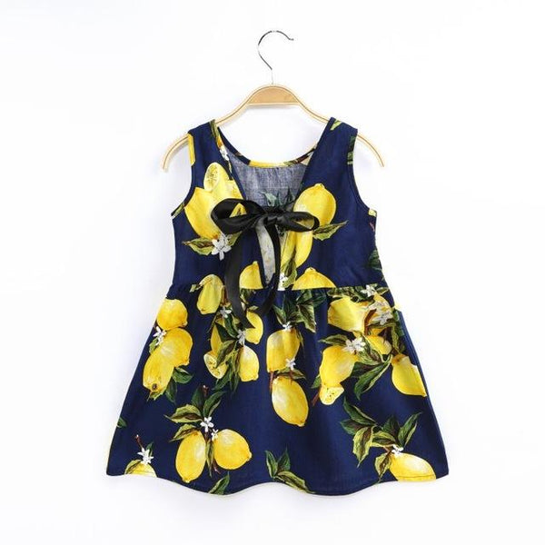 New Kids Teens Sleeves Cotton Dress Clothes Summer Vestidos Baby Girl Fruit Printing Pattern Dress