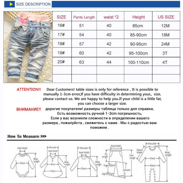 2019 New Arrival Butterfly Knotted Baby Girl jeans Children Casual Long Pants Kid Girls Denim Pants New Trousers 85-110cm