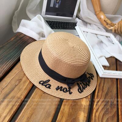 Lady embroidery sun caps boater hat Women's bow Summer Ribbon Round Bow Flat Top Wide Brim Straw Hat Women Hat