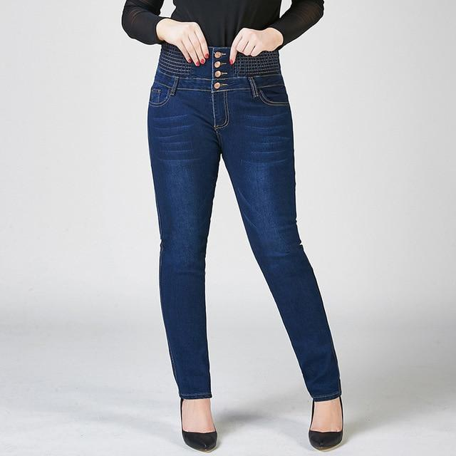 Female Stretchy Buttons Up Fly High Waist Elastic Band Tight Abdomen Jeans Women Pencil Feet Skinny Jeans