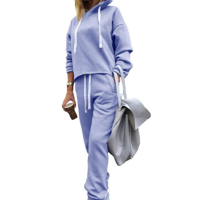 Lurehooker Women's Sports Suits Sexy Tracksuit 2 Piece Set Solid Hooded Yoga Clothes Fitness Suit Clothing Gym Running Sets