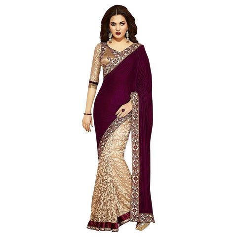 beige color embroidered saree for women