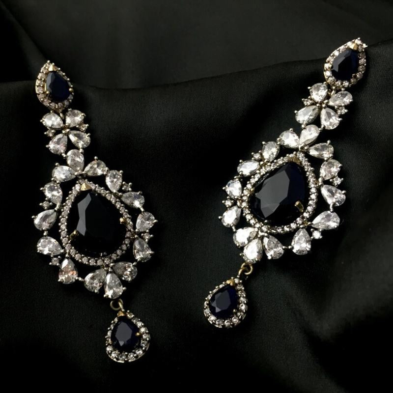 White and Black Stone Stylish Fancy Party Wear Earrings For Women & Girls