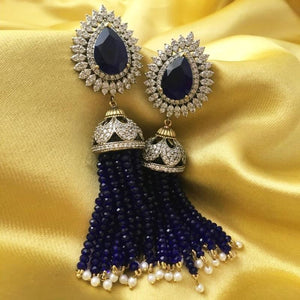 Designer Blue Stone Mid Length Earrings with White stone