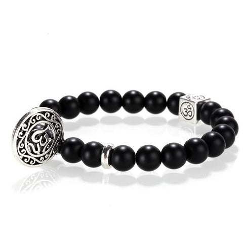 Men bracelet/stone beads/stainless steel tag/charms black natural stone bracelet