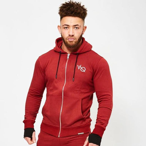 Men Autumn New Cotton Hoodie Sweatshirt Zipper Jacket Male Casual Gyms Fitness Bodybuilding Joggers Workout Sportswear Clothing
