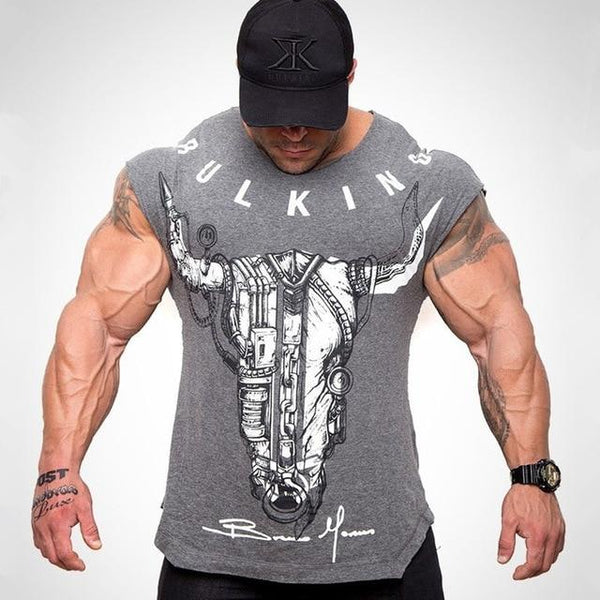 Men Creative Printed Short sleeve Cotton T-shirt Fashion Casual Gyms Fitness Bodybuilding Workout Tees Male Tops Brand Clothing