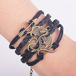 Men Leather Bracelet Vintage Punk Antique Silver Dragon Bracelets Charm for Women