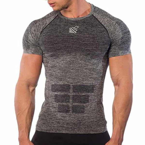 Men Summer Slim Short sleeve Quick dry T-shirt Gyms Fitness Bodybuilding t shirt Male Casual Workout Tee Tops Crossfit Clothing